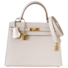Hermes Kelly 25 Sellier Bag Neutral Craie Epsom Gold Hardware with Twilly