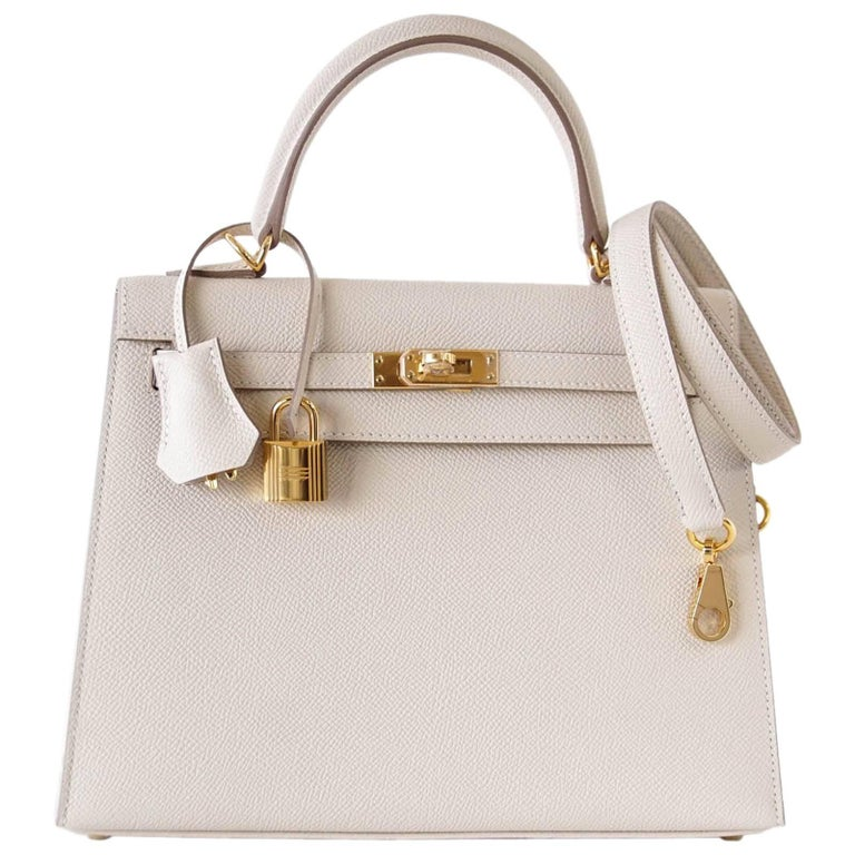Hermes Neutral Craie Epsom Gold Hardware with Twilly Kelly 25 Sellier Bag  For Sale