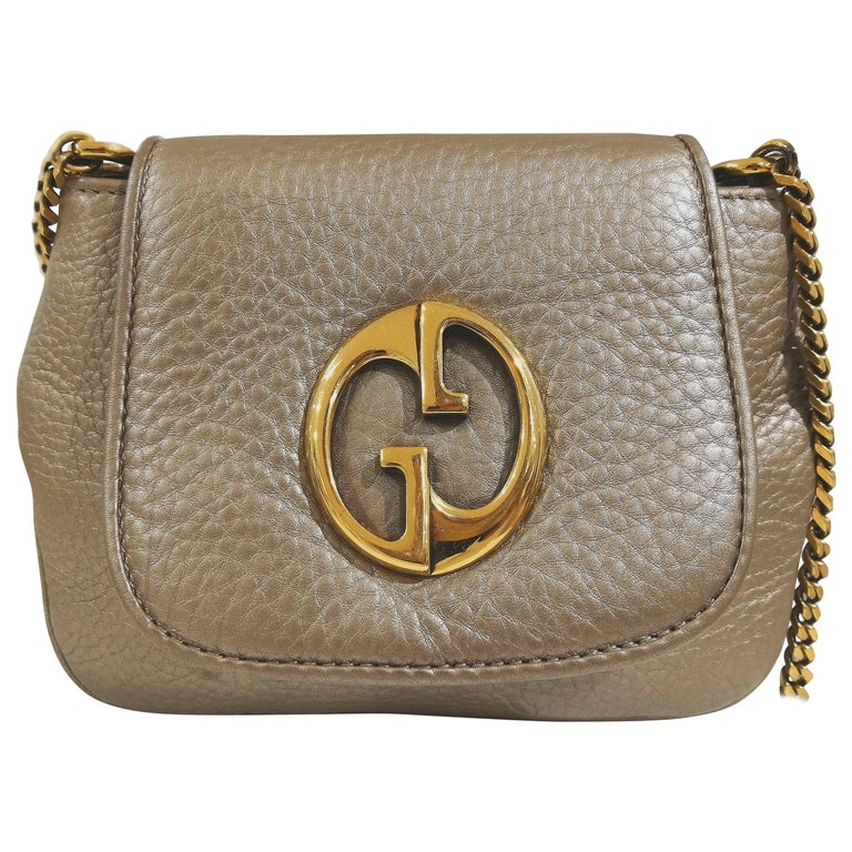 "2000 Gucci ""1973"" small beije leather shoulder bag"