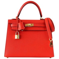 Hermes Kelly 25 Sellier Rouge Tomate Red Epsom Leather Bag Gold Hardware