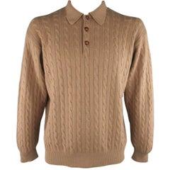 Men's RALPH LAUREN Size L Tan Cable Knit Cashmere Polo Pullover