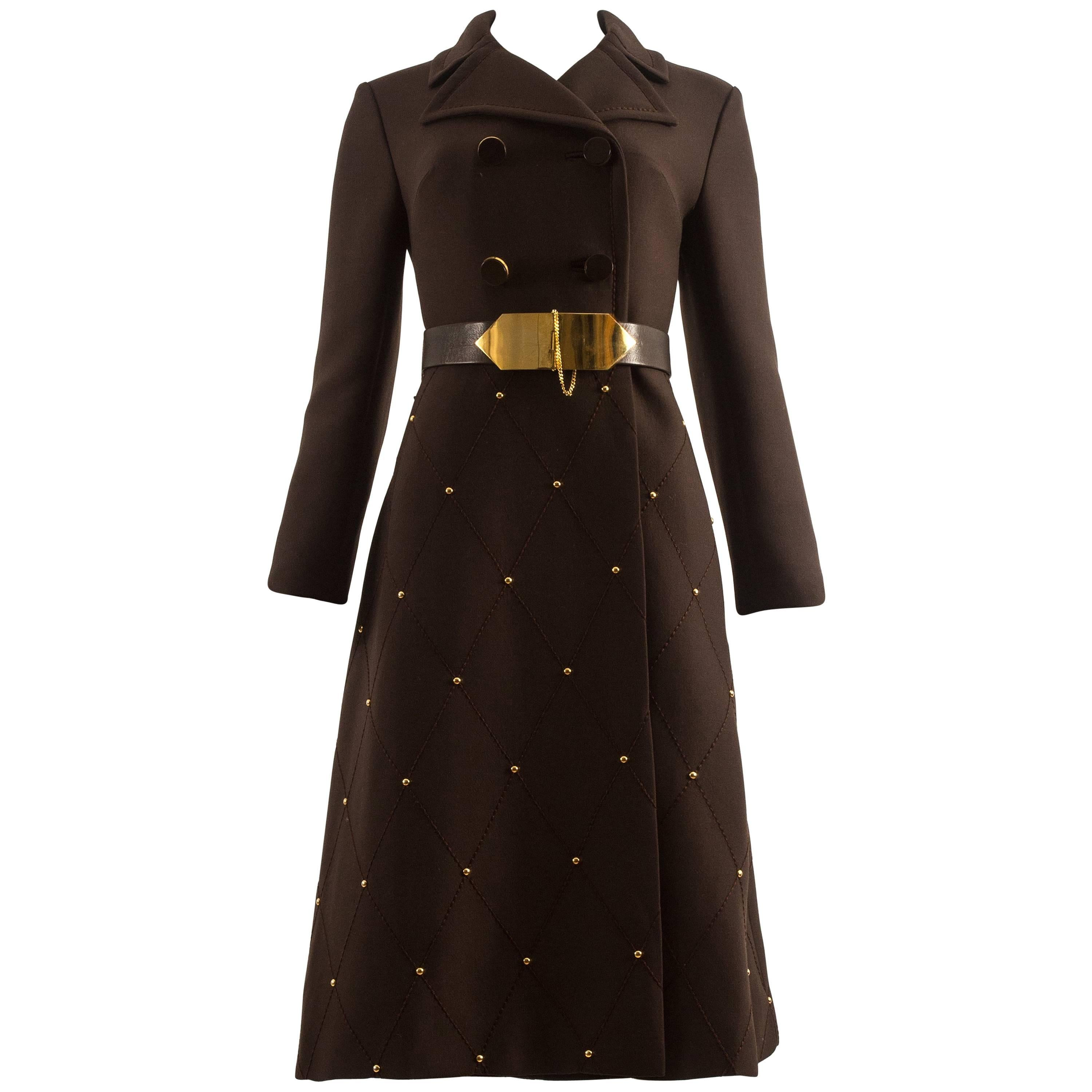 1960s brown wool coat with gold studs and belt