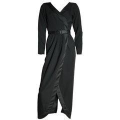 "Yves Saint Laurent ""Le Smoking"" Dress Black Wool Maxi Tuxedo Evening Satin Trim"
