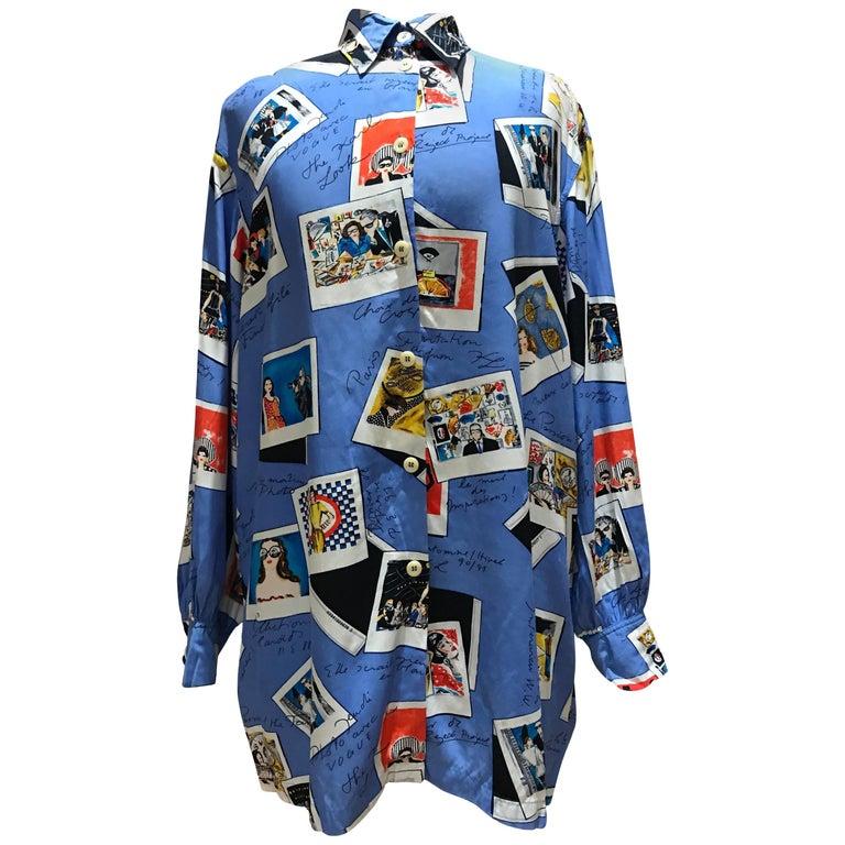 Karl Lagerfeld KL 1990 Rayon Novelty Print Blouse Shirt Polaroids 1