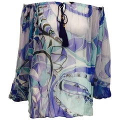 Perceptive Pucci Multi Blue Tone Abstract Print Sheer Silk Long Sleeve Blouse