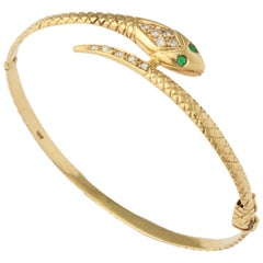 Antique Snake Bracelet with Diamond Head and Emerald Eyes