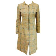Quintessential Chane Light Tweed Dress in Beige and Pastel With Zippered Closure