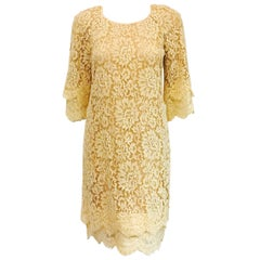 Modern Michael Kors Beige Lace Dress With Double Layer Cuffs and Hem