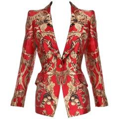 2010 Alexander McQueen Red & Gold Print Silk Jacket Blazer
