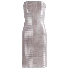 1990's Calvin Klein Collection Silver Metallic Strapless Cocktail Dress