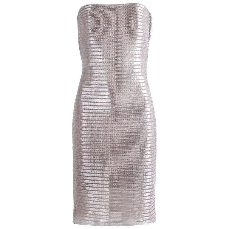 1990's Calvin Klein Collection Silver Metallic Strapless Cocktail Dress