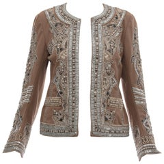 Dries Van Noten Cotton Embroidered Jacket With Silver Indian Thread, Fall 2010