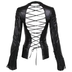2002 Spring Summer Versace Black Leather Fringed Jacket with Lace Up Back