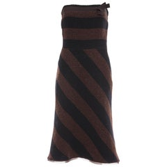 Prada Brown Navy Blue Striped Virgin Wool Tweed Strapless Dress, Fall 2000