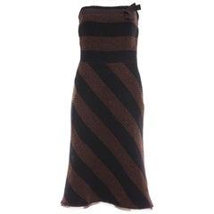 Prada Brown Navy Blue Striped Virgin Wool Tweed Strapless Dress, Fall 2000