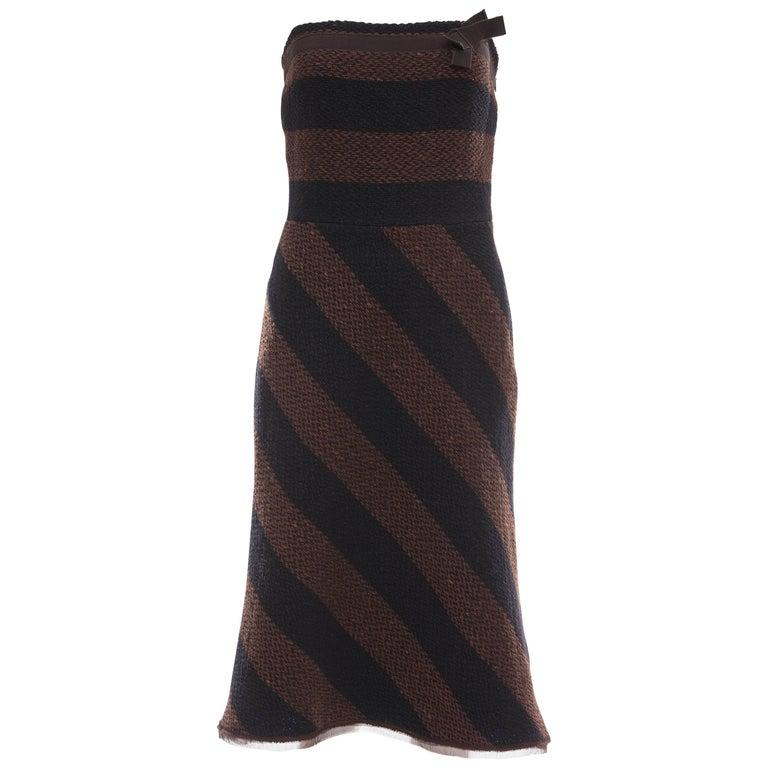 Prada Brown Navy Blue Striped Virgin Wool Tweed Strapless Dress, Fall 2000 For Sale
