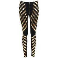 2011 Gareth Pugh Gold and Black Stretch Pants with Zippers at Ankle