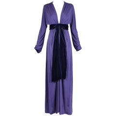 Yves Saint Laurent YSL by Tom Ford Purple Maxi Dress W/Velvet Ties