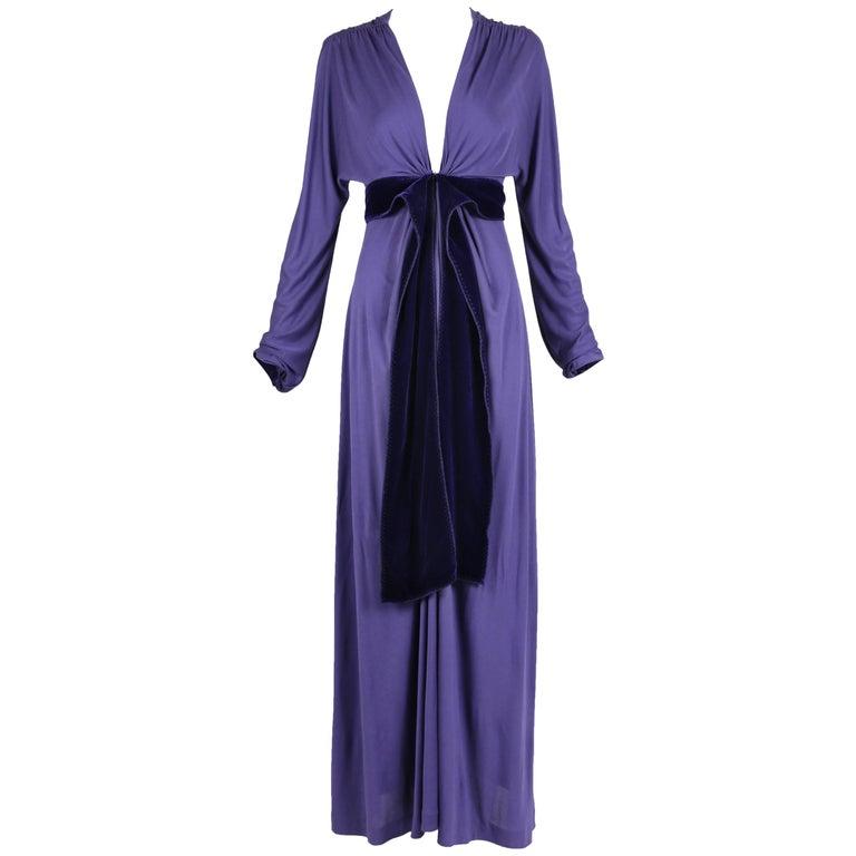 Yves Saint Laurent YSL by Tom Ford Purple Maxi Dress W/Velvet Ties 1