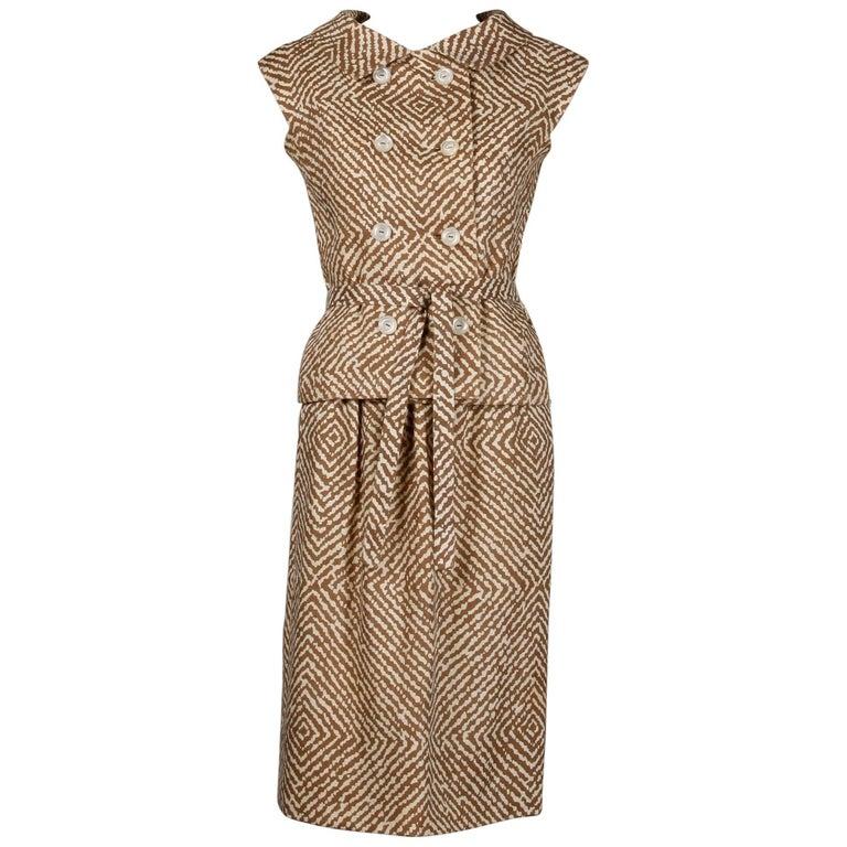 1960s Geoffrey Beene Vintage Brown 3-Piece Linen Skirt, Vest, Belt Suit Ensemble