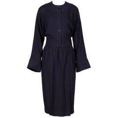 1970s Donald Brooks Vintage Navy Blue Wool Jacket + Skirt Suit Ensemble