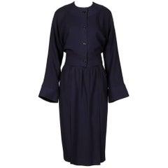1970s Donald Brooks Vintage Navy Blue Wool Jacket + Skirt Suit Ensemble