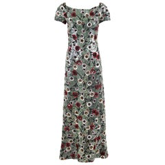 Arnold Scaasi Couture Floral Beaded and Sequined Evening Gown