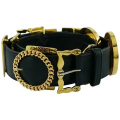 Chanel Vintage Black Leather Multi Buckle Belt
