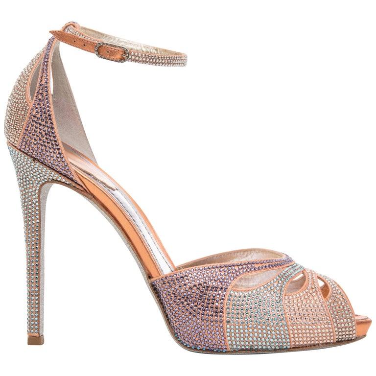 Rene Caovilla Silk Satin Swarovski Crystal Peep - Toe Sandals For Sale
