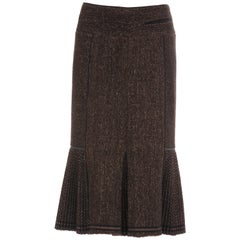 Donna Karan Collection Wool Nylon Cashmere Tweed Skirt