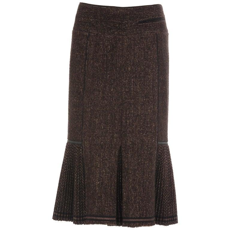 Donna Karan Collection Wool Nylon Cashmere Tweed Skirt