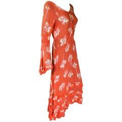 30s chiffon deco rose print dress