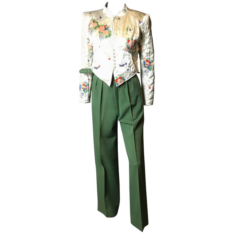 Super rare Ossie Clark tailored satin quilte jacket and pants