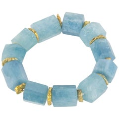 Coach House Natural Aquamarine Cylinder Shaped Beads Bracelet