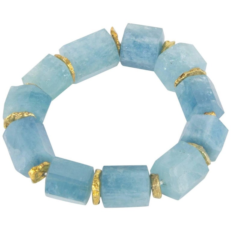 Coach House Natural Aquamarine Cylinder Shaped Beads