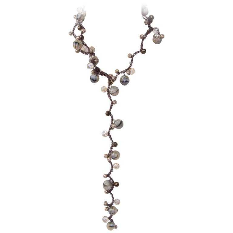 Long Brown Faux Agate Pearl Crystal and Stainless Steel Sautoir Necklace For Sale