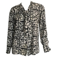 Yves Saint Laurent Black and White Graphic Blouse