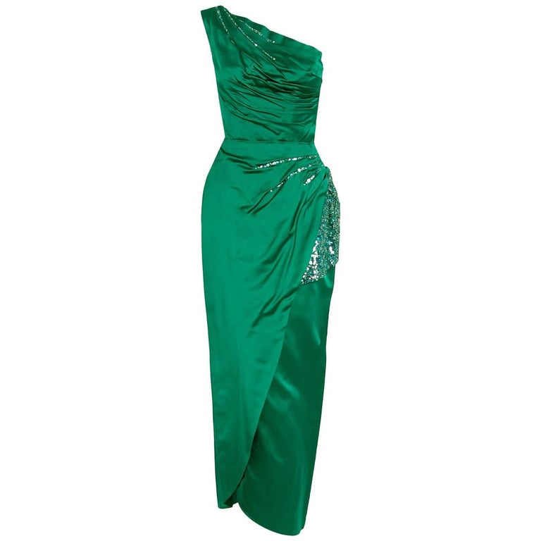 1950's Ceil Chapman Beaded Sequin Green Ruched Satin One-Shoulder Evening Gown 1