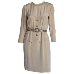 Bill Blass Khaki Snakskin Belted Dress