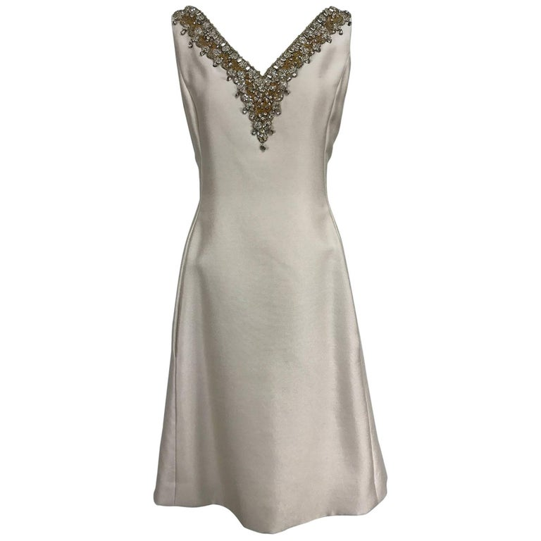 Vintage Malcolm Starr jeweled V neck lustrous cream silk dress 1960s For Sale
