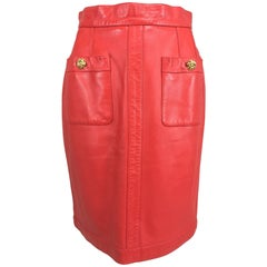 Chanel Vintage 1990s coral red leather skirt with pockets