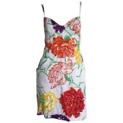 Thierry Mugler White Floral Linen Dress