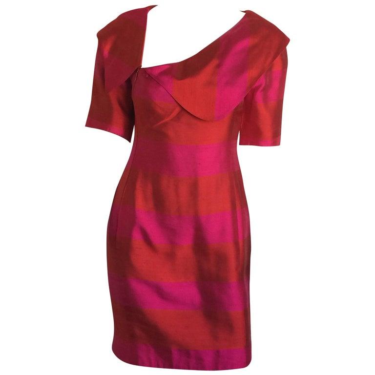 Lanvin Red & Pink Silk Striped Dress