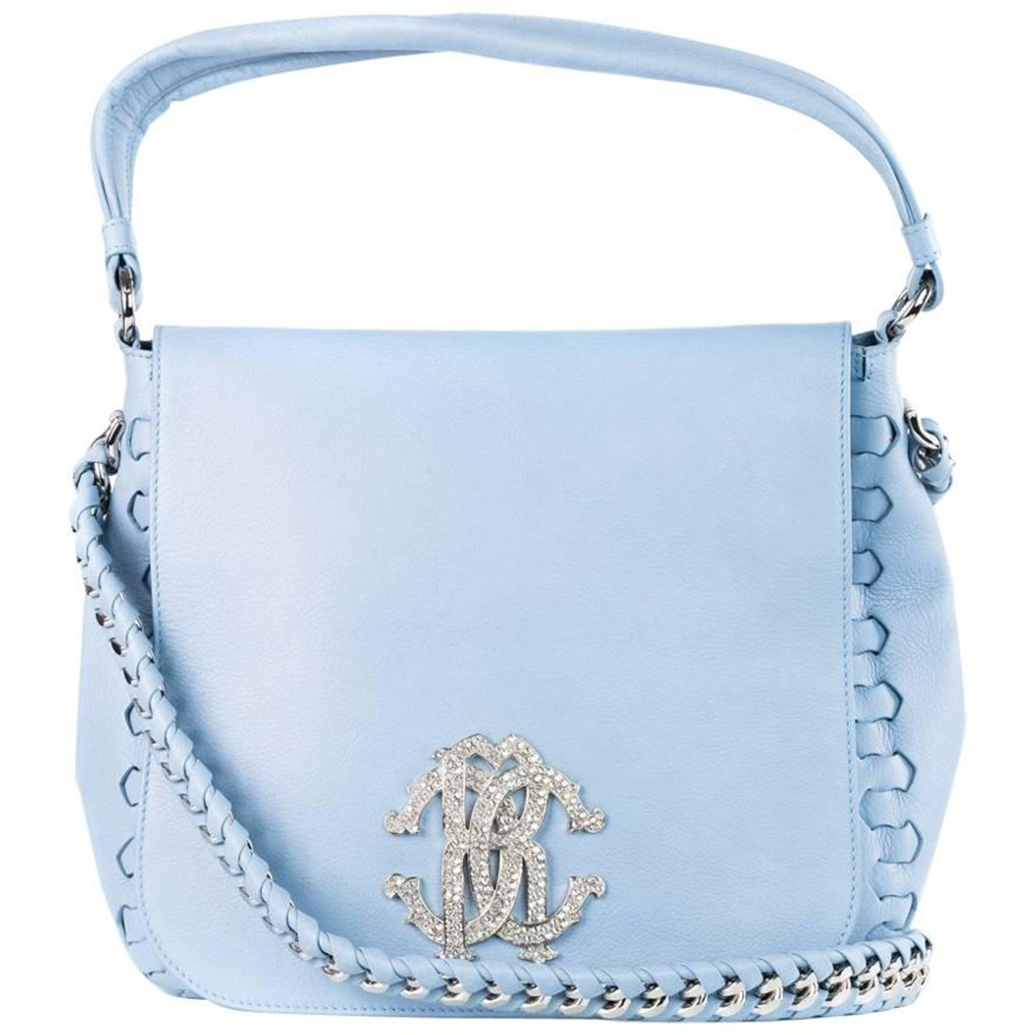 4a9b1dfa55 Roberto Cavalli Women Baby Blue Leather Messenger Flap Shoulder Bag Rtl   3500 For Sale at 1stdibs