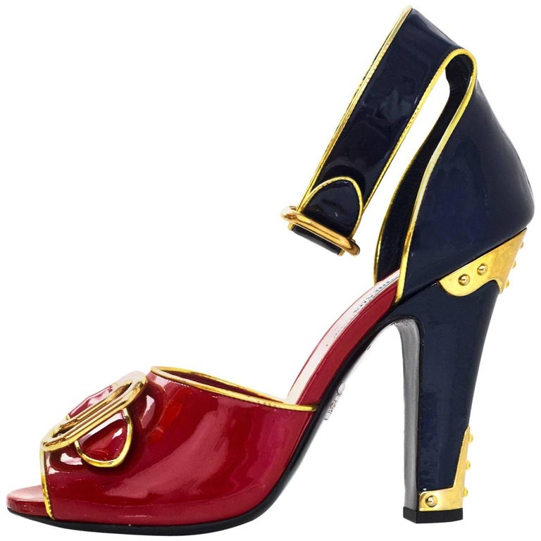 350c61dc4380 Prada Red and Navy Patent 110 F W Runway d Orsay Sandals Sz 39.5 NEW ...