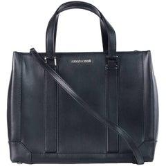 Roberto Cavalli Women's Black Leather Satchel Bag