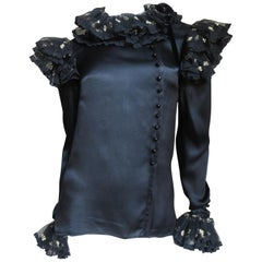 Valentino Boutique 1980's Silk Ruffle Blouse