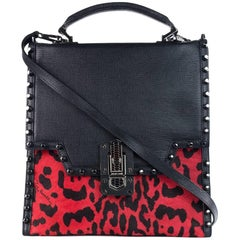 Roberto Cavalli Women's Red Leather Cheetah Print Shoulder Bag