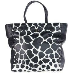 Roberto Cavalli Women's Black Cow Print Leather Tote Bag