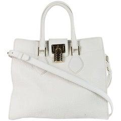 Roberto Cavalli Women's White Leather Grained Shoulder Bag